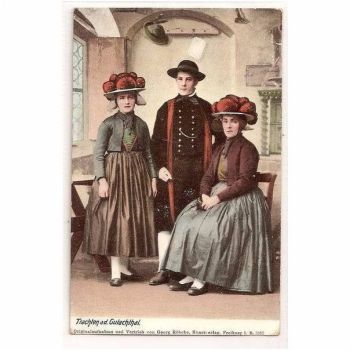 Fashion: Costumes, Germany: Trachten a d Gutachthal. Early 1900s Postcard