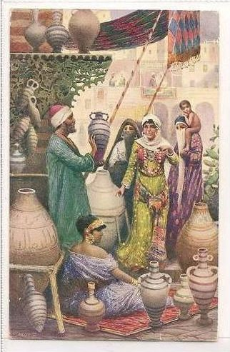Egypt: The Vase Seller. Early 1900s Max Rudmann Postcard