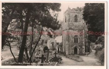 Cornwall: St Just In Roseland Church.1950s RP Postcard