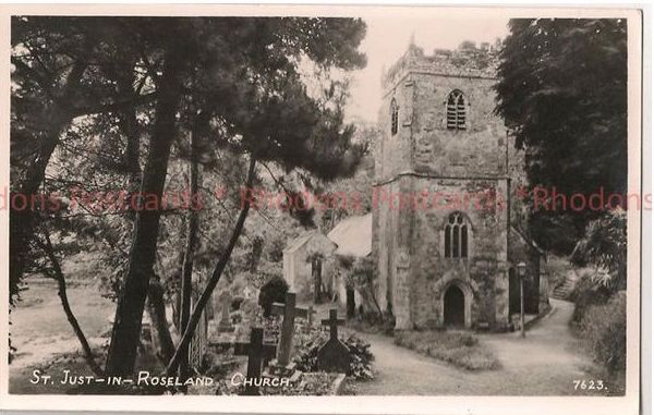England: Cornwall: St Just In Roseland Church.1950s RP Postcard
