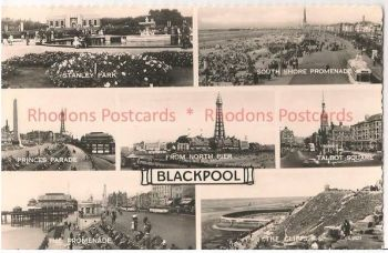 Lancashire: Blackpool, 1960s Multiview Real Photo Postcard