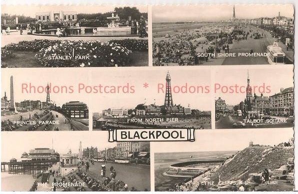 England: Lancashire. Blackpool, 1960s Multiview Real Photo Postcard