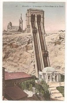 France: Marseille, L'Ascenseur et Notre Dame de la Garde. Early 1900s Postcard