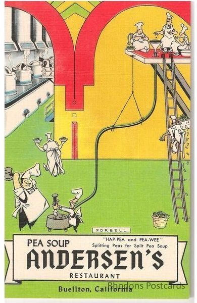 USA: Advertising Postcard - Andersen's Pea Soup Restaurant, Buellton, California. Circa 1950/60s