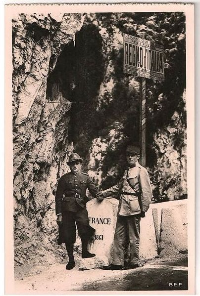 France / Italy:  Border Guards, France Grimaldi, Franco / Italian Border & Guards. 1930s RP Postcard