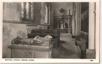 Derbyshire: Bakewell Church, Vernon Chapel. 1960s RP Postcard