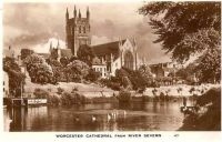 England: Worcestershire. Worcester Cathedral From River Severn. Circa 1930s Real Photo Postcard