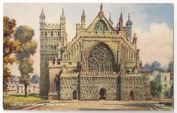 England:  Devon. Exeter Cathedral, West Front. 1950s Postcard