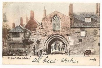 England: Wiltshire. St Annes Gate Salisbury Wiltshire. Early 1900s View