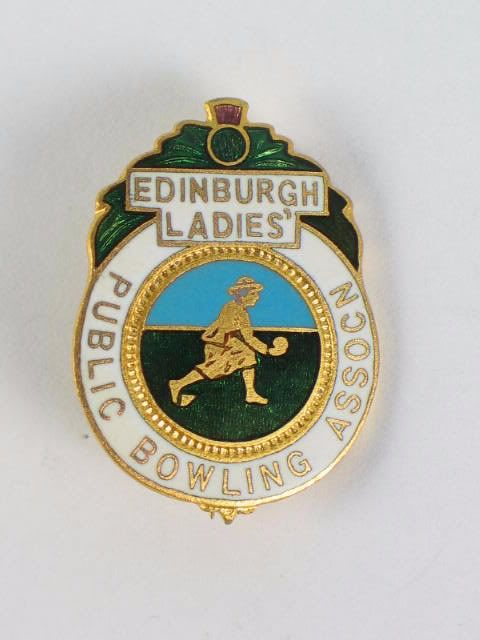 Edinburgh Ladies Public Bowling Association Enamel Badge