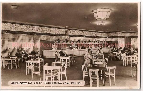 Wales: Pwllheli. Butlins Luxury Holiday Camp, Mirror Coffee Bar. 1940s Postcard