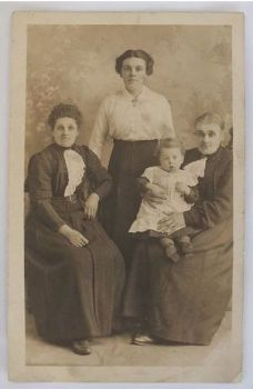 Victorian Ladies With Baby, Sepia Photo