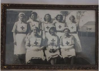 Nurses In Uniform, V A D / Red Cross. Framed Group Photo, WW II Era