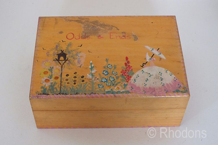 Wooden Work Box, Hand Painted Crinoline Lady. Circa 1950s. For Restoration.