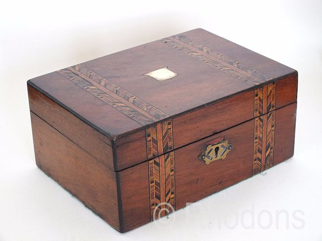 Victorian Mahogany Work Box With Tunbridgeware Marquetry Inlays - For Restoration