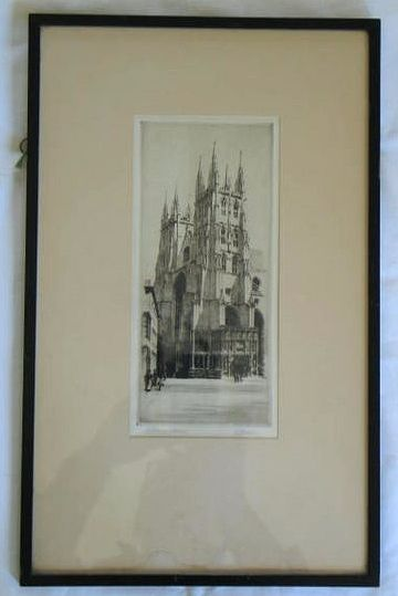 Canterbury Cathedral, Artist Signed Etching By K Vernon. Circa 1915