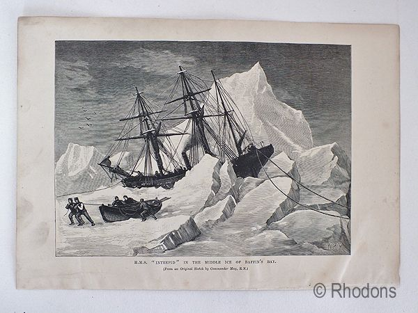 HMS Intrepid In The Middle Ice Of Baffins Bay. 19th Century Polar Region Print,
