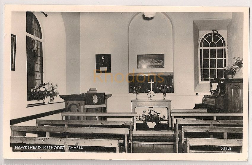 England: Cumbria. Hawkshead Methodist Chapel, Interior View RPPC