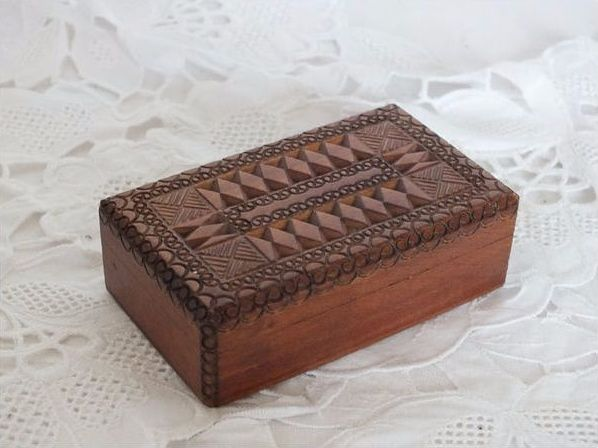 Carved Treen Stamp Box