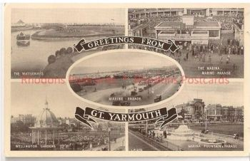 Greetings From Great Yarmouth, Norfolk. 1950s Multiview Postcard