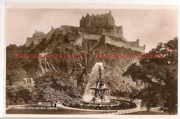 Edinburgh Castle And Ross Fountain. 1930s RPPC