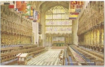 England: Berkshire: Windsor Castle St Georges Chapel. Valentines Art Colour Postcard