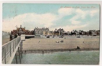 Lancashire: St Annes on Sea, Lancashire. View From The Pier. Early 1900s Postcard