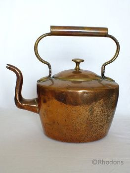 Victorian Copper Kettle, Country Cottage Fireside Kettle, Hearth Kettle