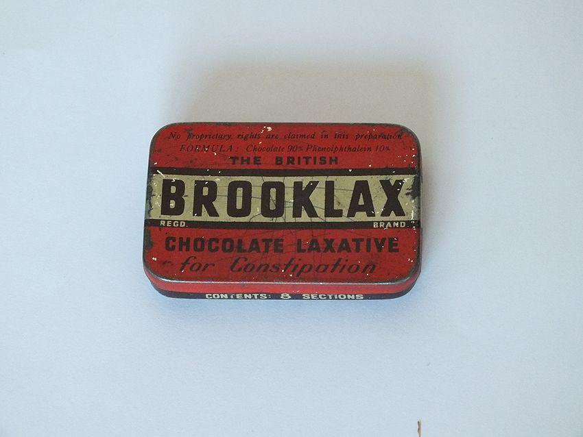 Brooklax Chocolate Laxative Tin. Early 1900s
