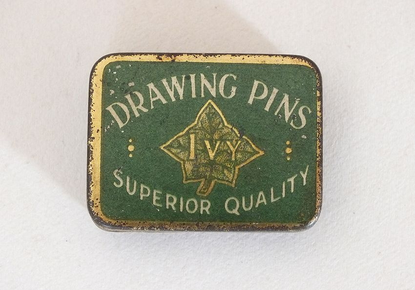 Drawing Pins Tin, Ivy Brand Early 1900s