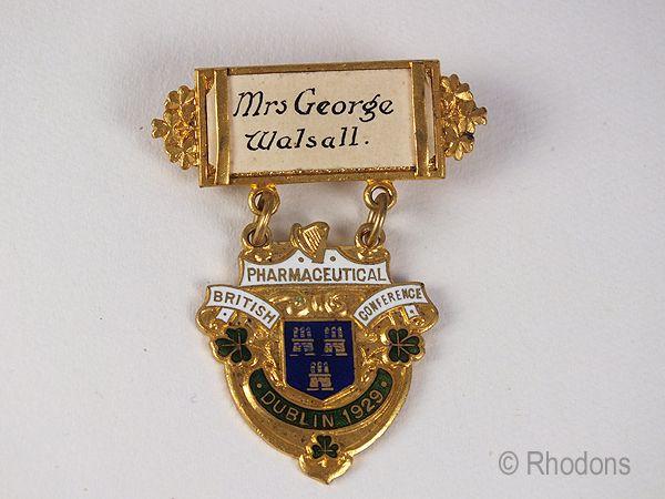 British Pharmaceutical Conference Dublin 1929 Delegate Badge