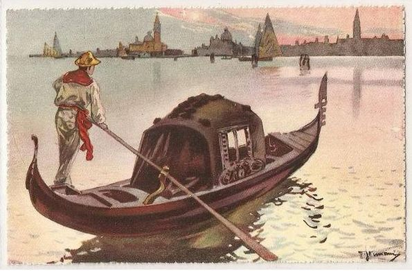 Italy, Venice, La Gondola, 1930s Art Postcard