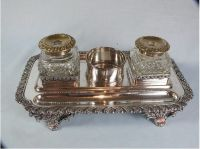 Antique Inkwell, Standish. Silver Plate On Copper. Mid / Late 1800s