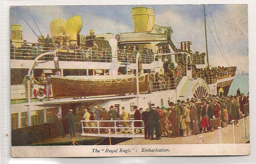 The Royal Eagle Embarkation. Vintage Pleasure Steamer Postcard