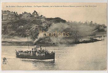 France: De St Malo a Dinan Pa La Rance. Le Vapeur Dinardais. Early 1900s