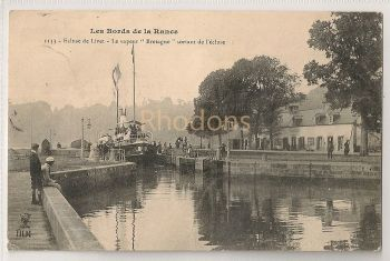 France: Les Bords de la Rance. Ecluse de Livet, Le Vapeur 'Bretagne' Sortant de L'ecluse. Early 1900s