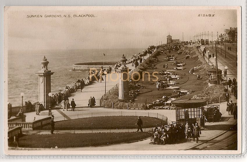 England: Lancashire. Sunken Gardens North Shore, Blackpool. Valentines, 1950s RPPC