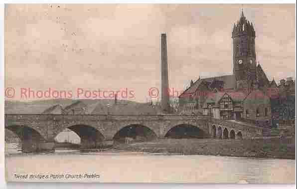 Scotland: Peebles, Peeblesshire. Tweed Bridge & Parish Church, Early 1900s