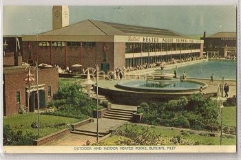Butlins Holiday Camp, Filey, Yorkshire. Outdoor & Indoor Heated Pools. 1950s RPPC