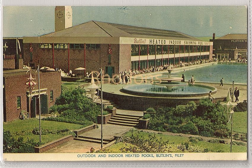 England: Yorkshire. Butlins Holiday Camp, Filey, Yorkshire. Outdoor & Indoor Heated Pools. 1950s RPPC