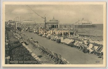 Sussex: The Parade And Bandstand, Eastbourne, 1960s Real Photo Postcard