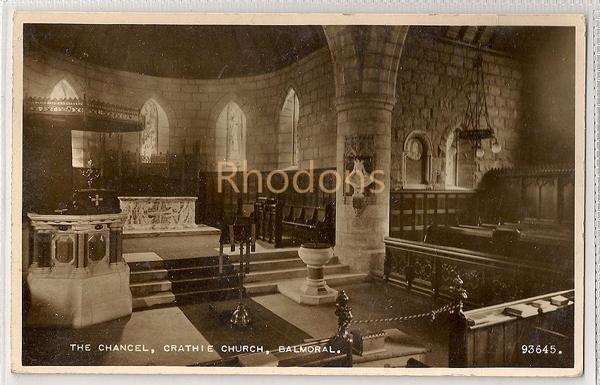 Scotland: Aberdeenshire. The Chancel, Crathie Church, Balmoral. Real Photo Postcard