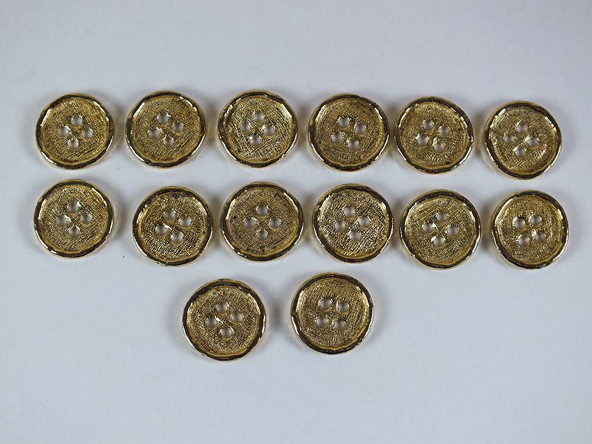 Gilt Metal Coat Buttons, Set Of 14
