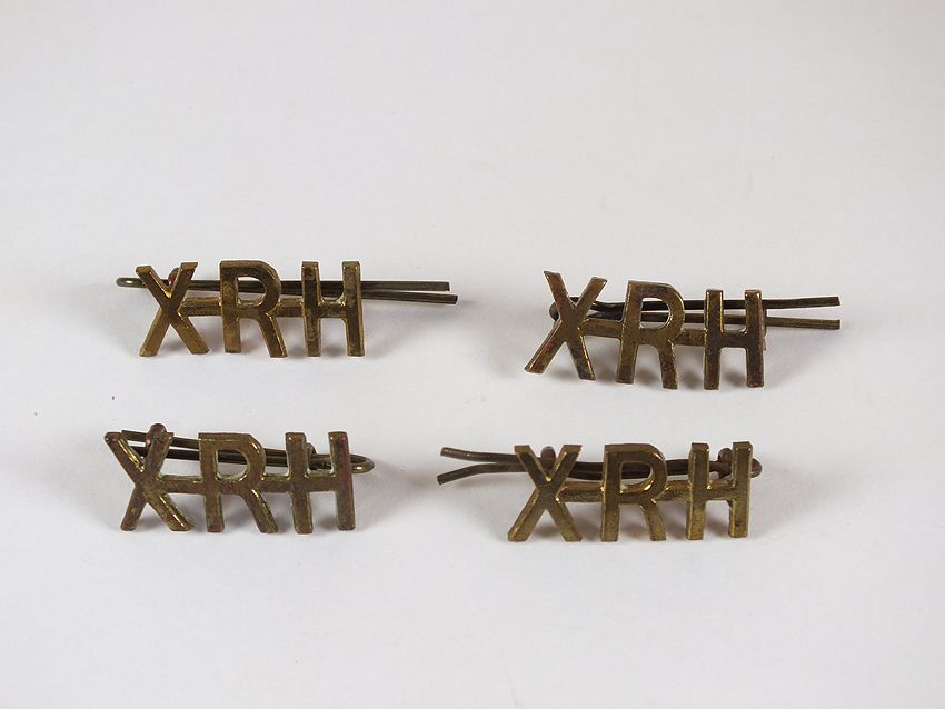 10th Royal Hussars Collar Titles With Back Plates, 2 Pairs