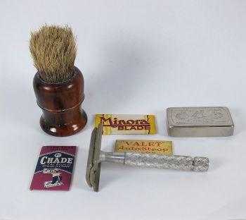Shaving Tools Lot, Gillette Razor, Brush, Myatt Blades Holder Tin. Mid 20th Century, Circa 1930s