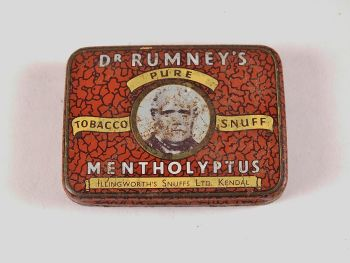 Dr Rumney's Pure Tobacco Mentholyptus Snuff Tin, Illingworths Snuffs Ltd , Kendal. Early 1900s