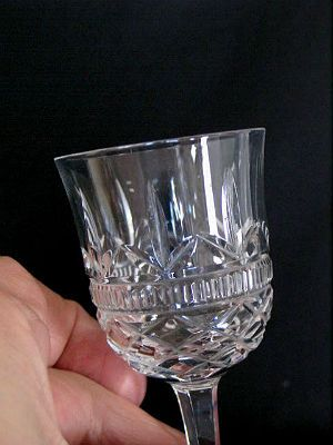 Crystal Cut Wine Glass, Tulip Bowl