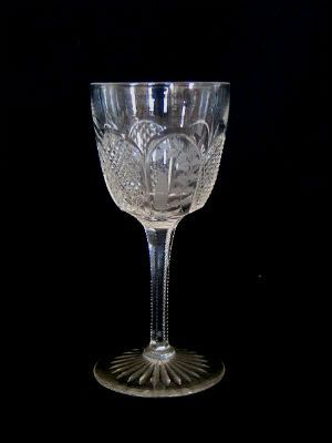 Collectable Victorian Crystal Cut Glass Wine Glass With Etched and Cut Bowl
