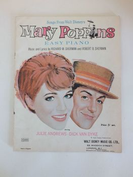Songs From Walt Disney's Mary Poppins Starring Julie Andrews & Dick van Dyke. Easy Piano Sheet Music with Lyrics, 1960s
