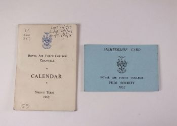 Royal Air Force College Cranwell Calendar Spring Term 1962 + RAF Film Society Membership Card 1962